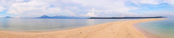 Panorama of Higatangan Island sandbar in Biliran, Philippines