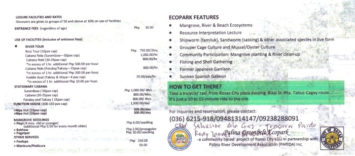Rates and services - Palina Greenbelt Ecopark, Roxas City, Capiz, Philippines