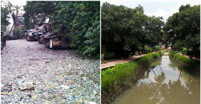 Pasig River, Estero de Paco, before and after rehabilitation