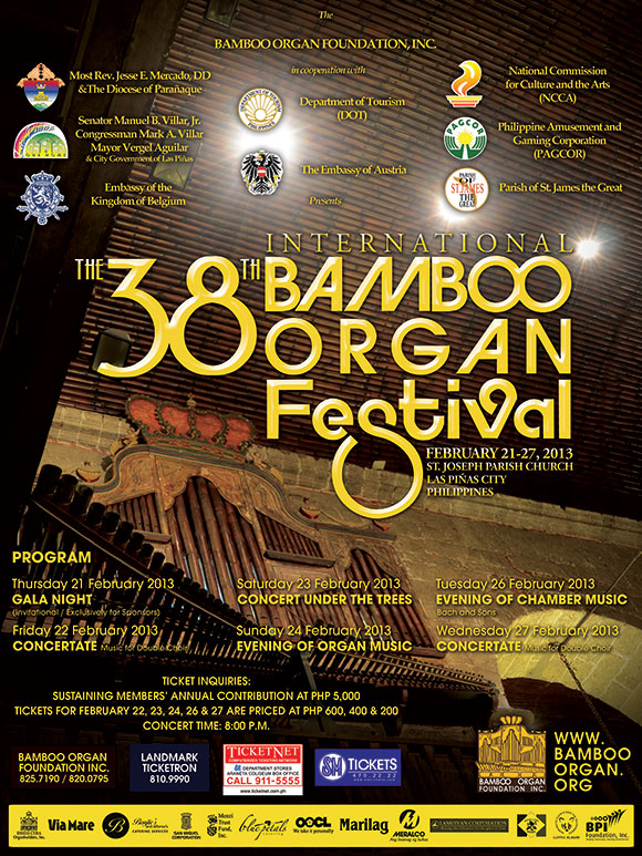 Poster and schedule, 2013 38th International Bamboo Organ Festival, Las Piñas, Manila, Philippines