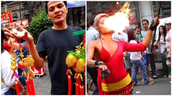 Vendors, performers, Ongpin, Binondo, Chinese New Year, Manila, Philippines