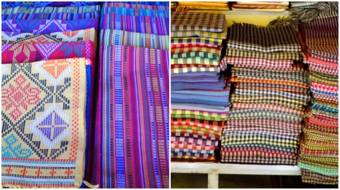 Yakan weaving in Zamboanga, Philippines (left), krama in Siem Reap, Cambodia (right)