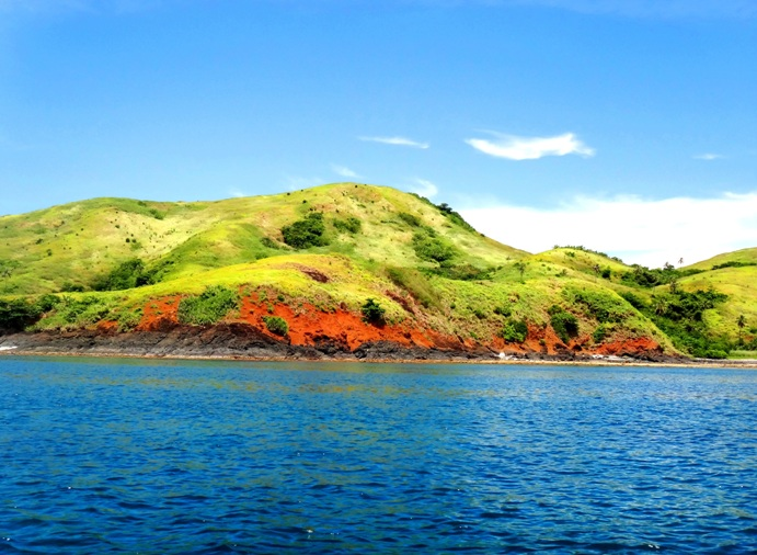 Calaguas Islands hills, red and green, Vinzons, Camarines Norte, Philippines