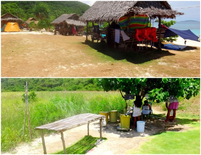 cottages, tents, bathing facilities, Mahabang Buhangin beach, Calaguas Islands, Vinzons, Camarines Norte, Philippines