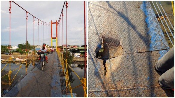 crossing hanging bridge, hanging bridge holes, oncomimg motorbikes, motorcycles, Sablayan, Occidental Mindoro, Philippines,