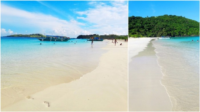 east and west, stretch of powder-fine sand, powdery white sand, white beach, Mahabang Buhangin beach, Calaguas Islands, Vinzons, Camarines Norte, Philippines