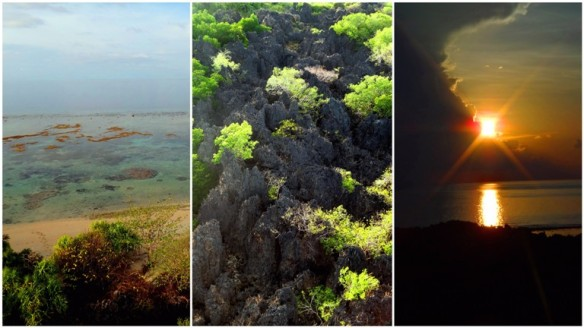 Lighthouse views, sunset, rock formations, karsts, beach, Apo Island, Apo Reef, Sablayan, Occidental Mindoro, Philippines