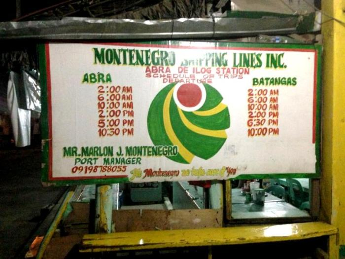 ro-ro schedules, Montenegro Shipping Lines, Batangas City to Abra de Ilog, Occidental Mindoro, Philippines