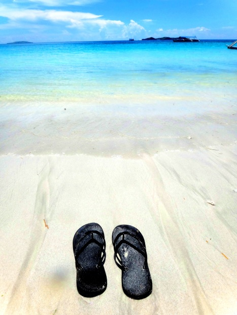 slippers, white beach, Mahabang Buhangin, Calaguas Islands, Vinzons, Camarines Norte, Philippines