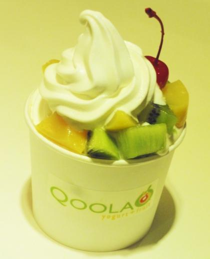 Frozen yogurt and fruit toppings (kiwi, mango, cherry) at Qoola yogurt + fruit, Greenbelt 2, Makati, Philippines