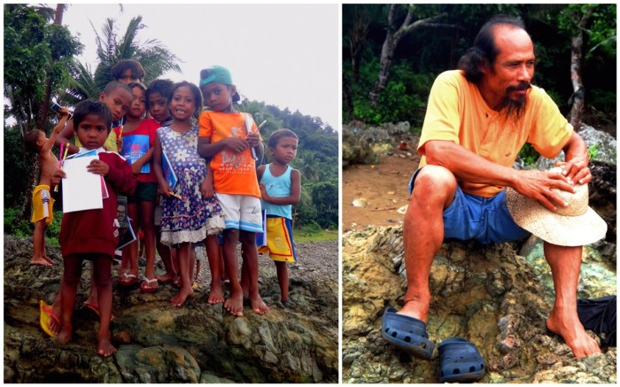 (Left) Kids, Dumagat tribe, Dumagat indigenous people, Sitio Disigisaw, Casiguran, Aurora, Philippines (Right) Dada Atma, Ananda Marga Philippines