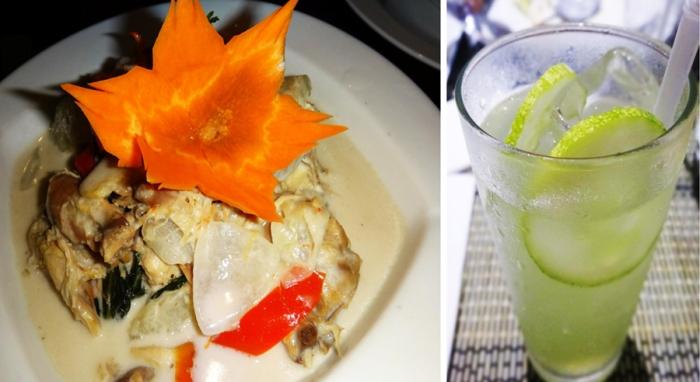 hinatukan na manok (native chicken in coconut milk), cucumber lemonade Jasmine Restaurant, Oriental Hotel, Palo, Leyte, Philippines