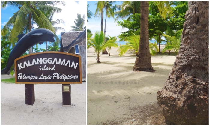 Kalanggaman island dolphin welcome sign, coconut trees, Palompon, Leyte, Philippines