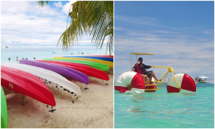 kayak, water bike, water biking, Kalanggaman Island sandbar, unspoiled white beach, Palompon Leyte, Philippines
