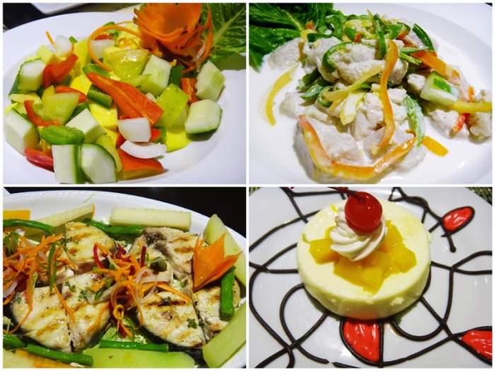salad, kinilaw (fish in vinegar), grilled fish steak, pana cotta, Jasmine Restaurant, The Oriental Hotel, Palo, Leyte, Philippines