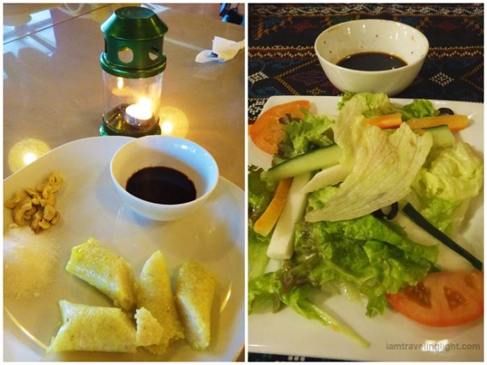 healthy salad, homemade vinaigrette, native suman, sticky rice, spa vacation, Luljetta's Hanging Gardens and Spa, Loreland Farm Resort, Antipolo, Philippines, near Manila