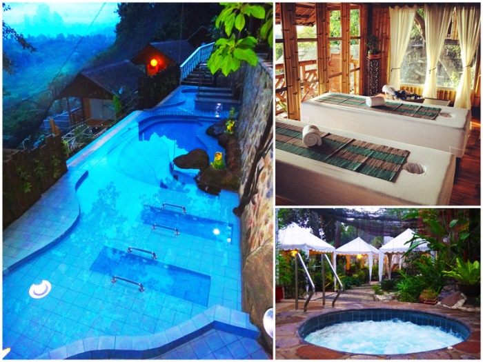 Massage bed with mountain view, massage pool, jacuzzi, hydromassage, hydrotherapy, Luljetta's Hanging Gardens and Spa, Loreland Farm Resort, Antipolo, Philippines, near Manila