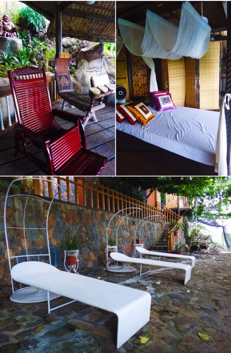 quiet place, quiet relaxation, rustic furniture, thai pillows, woven mat bed, Luljetta's Hanging Gardens and Spa, Loreland Farm Resort, Antipolo, Philippines, near Manila