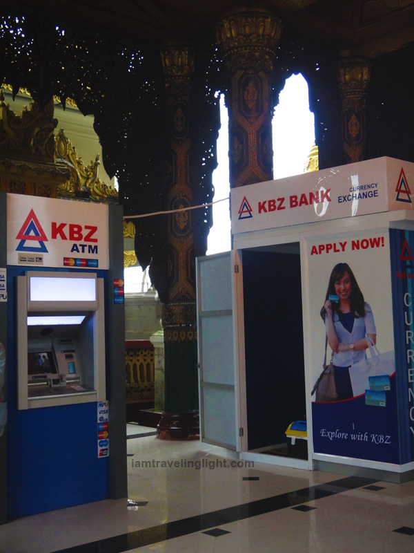 atm machine, international atm withdrawal, kyat, shwedagon pagoda, yangon, myanmar