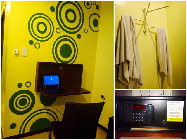 Go Hotels Bacolod, safe, valuables, towel clothes rack, foldout desk, wall art, Bacolod budget accommodation