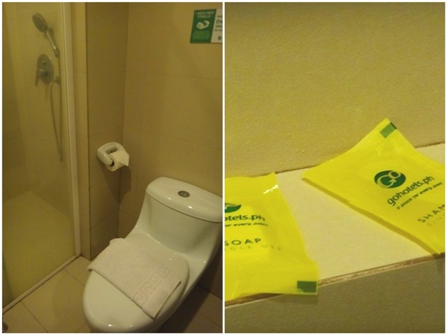 Go Hotels Bacolod toilet, rain shower, basic soap shampoo