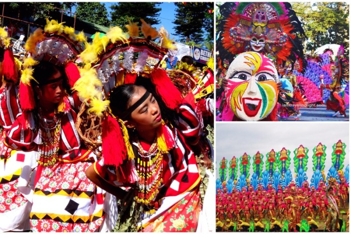 (Clockwise from left) Kaamulan Festival in Bukidnon, Masskara Festival in Bacolod, Pintados-Kasadyaan Festival in Tacloban, Leyte