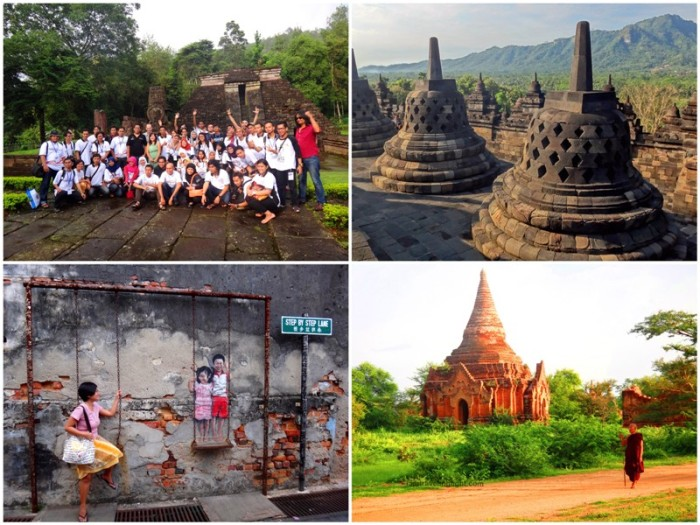 (Clockwise from left) Sukhu temple, Solo, Indonesia ASEAN Bloggers Conference, Borobodur temple Jogjakarta, Bagan, Myanmar temple, monk, Penang street art