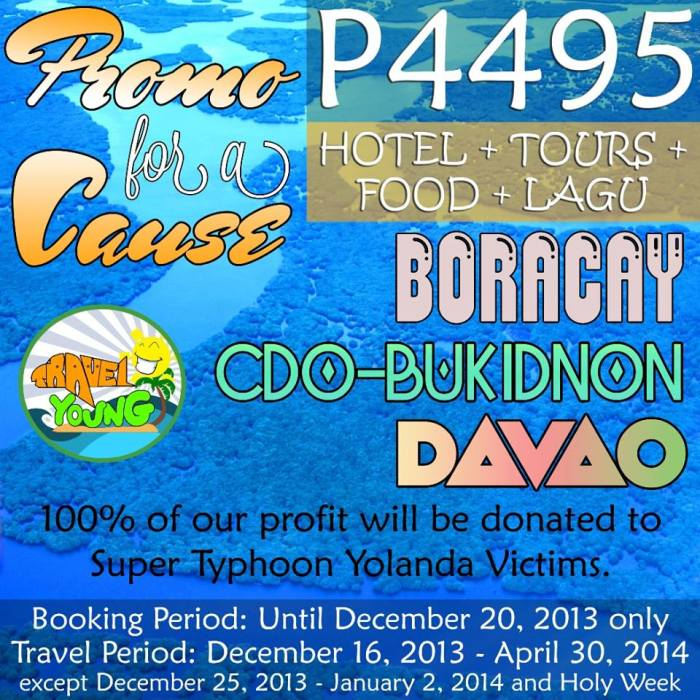 Travel Boracay, CDO, Bukidnon, Davao, for a cause by Travel Young, Yolanda, Haiyan fundraising