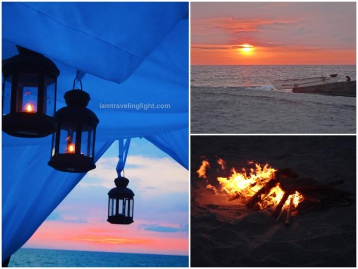 Beach sunset, bonfire, candle lamps, romantic lamps, Zambawood Resort, luxury resort, advocacy resort, La Paz, San Narciso, Zambales