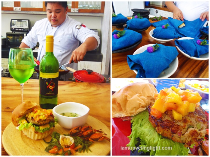 chef, pandesal bread wrapped cotton keep heat, flower topping, yellowfin tuna burger, mango chutney, lunch, white wine, Zambawood Resort, luxury resort, advocacy resort, La Paz, San Narciso, Zambale
