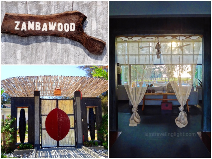 Entrance, wooden sign, Zen bamboo doors, natural abaca curtains,  Zambawood Resort, luxury resort, advocacy resort, La Paz, San Narciso, Zambales
