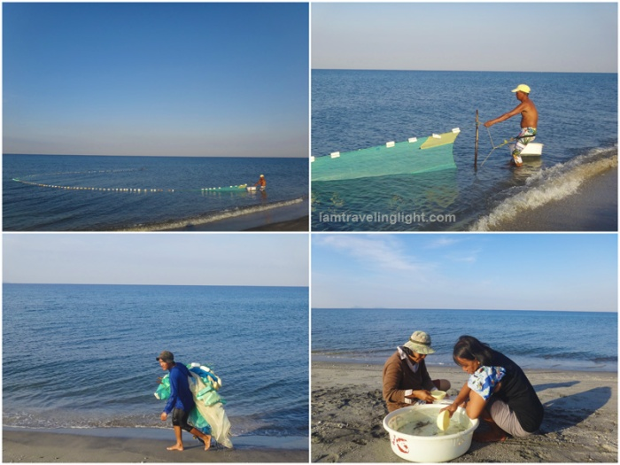 Fisherfolk, catching bangus fingerlings, La Paz, San Narciso, Zambales, beach in front of Zambawood Resort