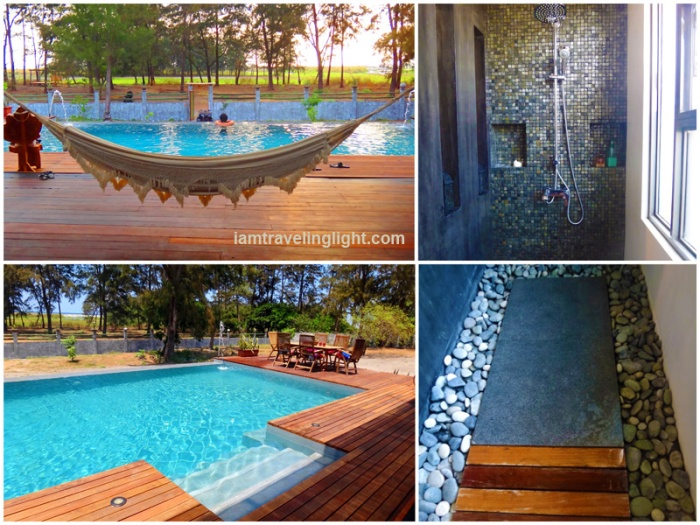 infinity pool, white cloth Venezuela hammock, agoho chairs, deck, lounge, agoho pine-like trees, zen shower, stones, Zambawood Resort, luxury, advocacy, La Paz, San Narciso, Zambales