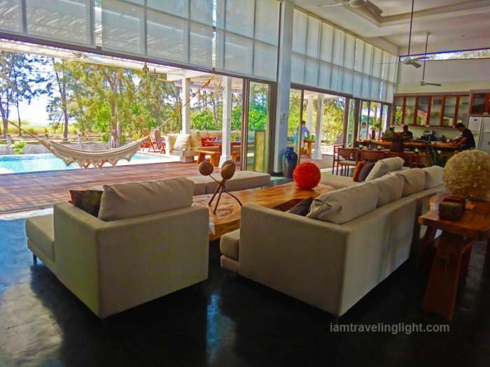 living room, weather-resistant sofa, infinity pool, beach house, open design, high ceiling, eco-friendly design, Zambawood Resort, luxury resort, advocacy resort, La Paz, San Narciso, Zambales