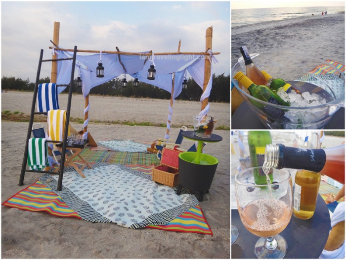 open tent, wine, lounge, beach, sunset, Zambawood Resort, luxury and wellness resort, advocacy resort, La Paz, San Narciso, Zambales