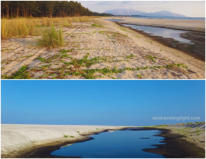 raw, unspoiled beach, pine trees, creek, mountains, volcanic sand, white sand, Zambawood Resort, luxury resort, advocacy resort, La Paz, San Narciso, Zambales