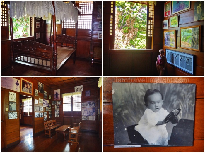 Ramos house replica, Philippines President Fidel Ramos childhood house, wood, memorabilia, photos, old antique bed, childhood photo, Lingayen, Pangasinan