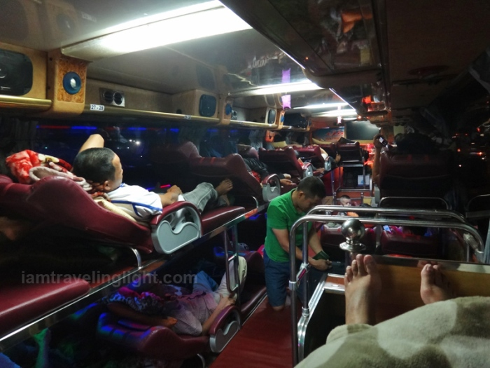 bus hanoi to vientiane, vietnam to laos, nightmare bus ride, reclining seat