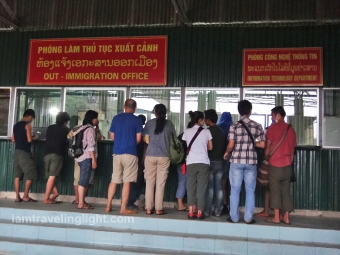 immigration office, border, vietnam and laos, bus hanoi to vientiane