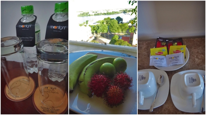 complimentary bottled water, hot tea, fresh fruit, deluxe room, moonlight hotel, luxury hotel, hue, vietnam