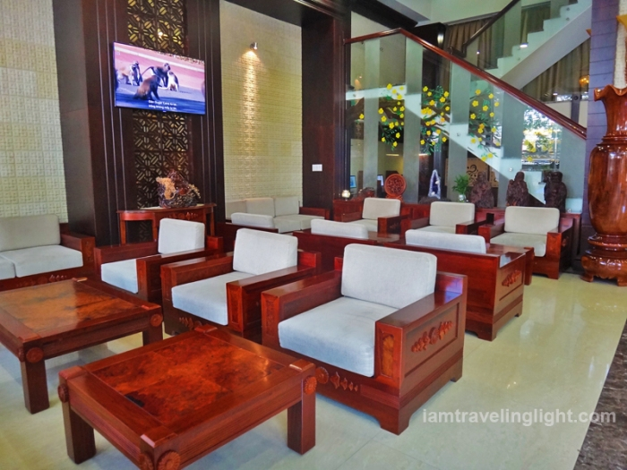 lobby, hardwood chairs, moonlight hotel, hue, vietnam, luxury hotel