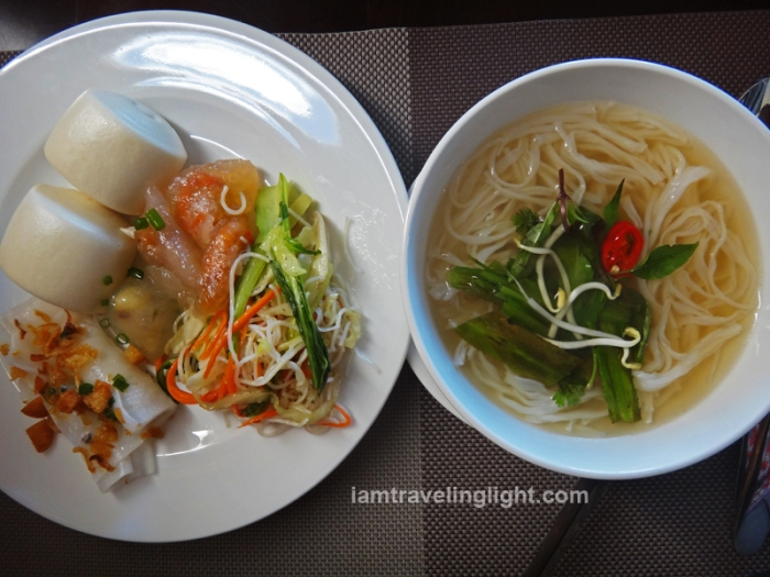 pho, white rose dumpling, and other traditional vietnamese food, buffet breakfast, moonlight hotel, hue, luxury hotel