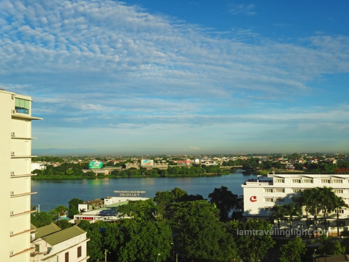 view from moonlight hotel hue deluxe room, luxury hotel, huong river, perfume river, hue, vietnam