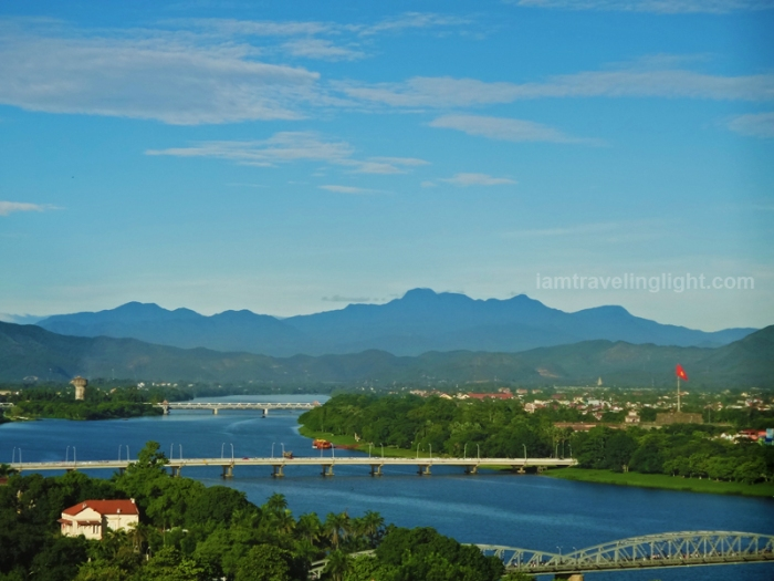 view from moonlight hotel, luxury hotel, huong river, perfume river, hue, vietnam