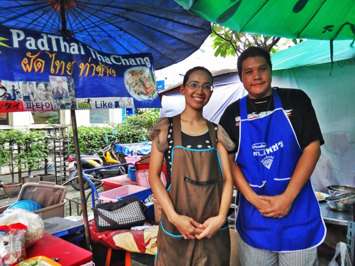 Maneerust Phongprom (Bill), cook and owner of Pad Thai Tha Chang, serving the best pad thai in Bangkok, and her boyfriend, Poom