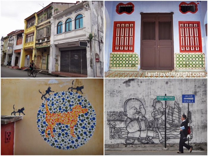 Penang old houses and cat street art