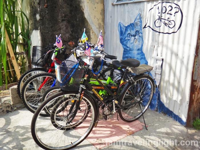 bike rental, Penang street art, cat, Malaysia