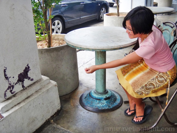luring a cat, Penang street art, Malaysia, 101 lost kittens project