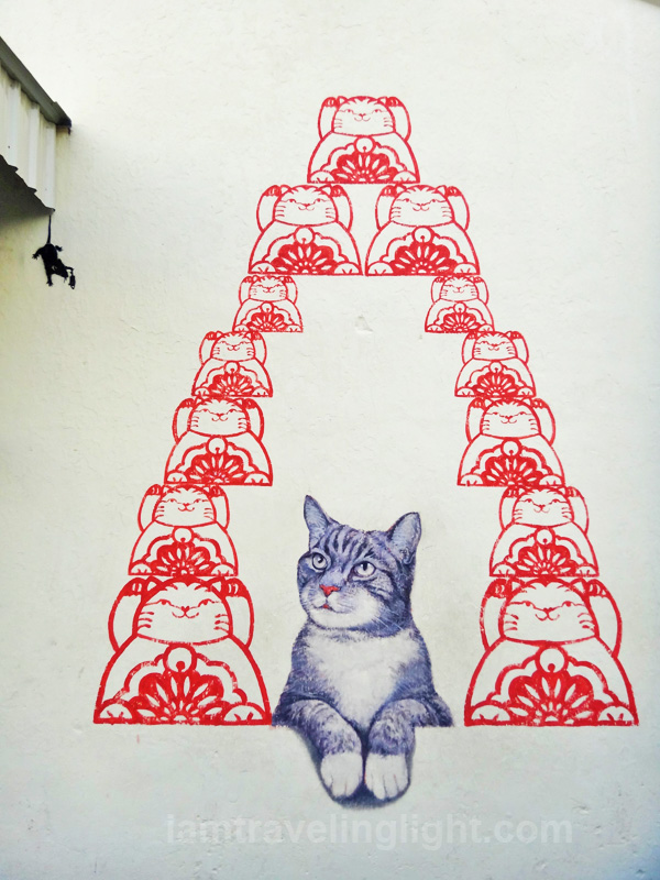Maneki neko, Love Me Like A Fortune Cat, street art, Penang, Malaysia