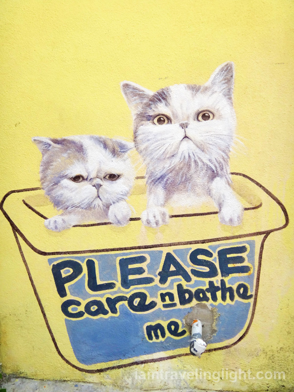 Please care and bathe me, cat street art, Penang, Malaysia